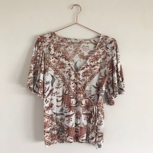 Lucky Brand | Floral Wrap Top